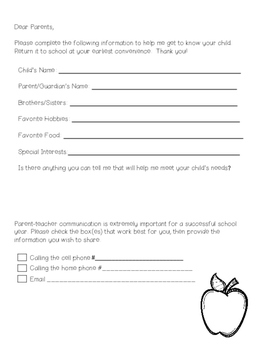 Communication Letter Home - Use for Beginning of the year