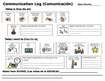 Communication Log - Autism - Spanish - School to Home