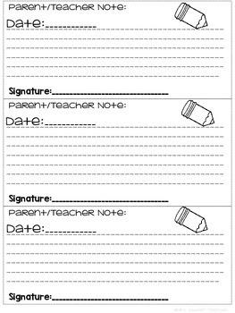 Communication Log for Parents/Teachers/Student Take Home Folders Freebie!