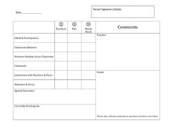 Communication Log letter home & log
