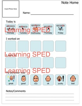 Communication Note Home Parent communication special needs life skills