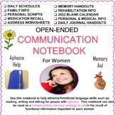 Communication Notebook For Women With Aphasia or Memory Loss *2019 Calendar!