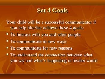 Communication Power Point for Parents Raising Children with Autism