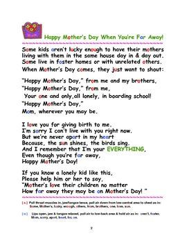 Communication & Pronunciation of a Poem for a Far Away Mom