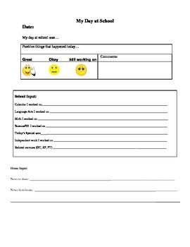 Communication Sheet Elementary