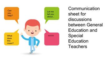 Communication Sheet for Special and General Ed Teachers