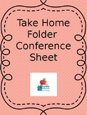 Communication Sheet for Take Home Folders