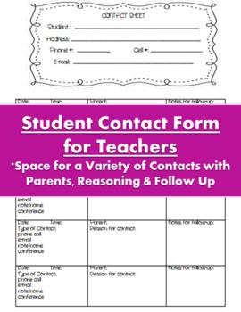 Communication Sheet for Teachers