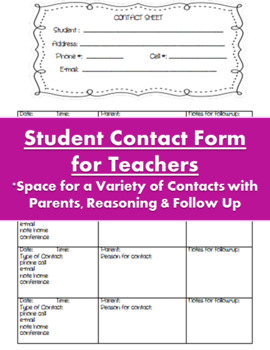Communication Sheet for Teachers