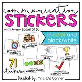Communication Stickers | Progress Monitoring Stickers [fro