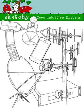 Communication System Clipart Graphics 300dpi Black Lined, Black and White