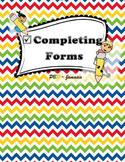 Communication Task - Completing Forms (Grade 3, Grade 4, G