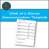 Communication Template Week at a Glance *Editable and PDF