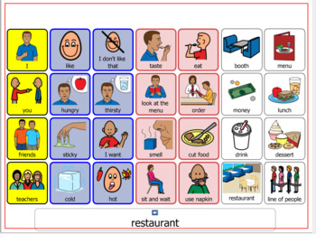 Autism Visual Support and more-Communication/Topic board: Restaurant