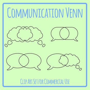 Communication Venn Diagrams Graphic Organizer Clip Art Set Commercial Use