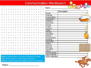 Communication Wordsearch Sheet Starter Activity Keywords English Language