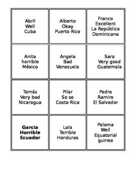 Talking Cards: name/origin/feelings in Spanish (communicative)
