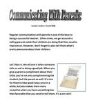 Communication with Parents: Sample Letter to Parents, Good News Etc.