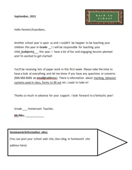 Communication with Parents: Sample Letter to Parents, Good News Etc.