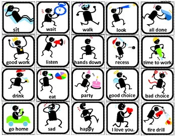 Communication/Behavior Stick Men Flashcards for Autism