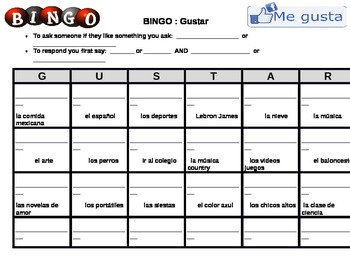 Communicative BINGO - Using the verb GUSTAR