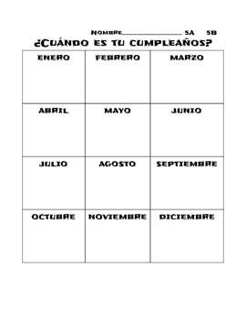 Communicative Birthday Activity- Spanish ¿Cuándo es tu cumpleaños?
