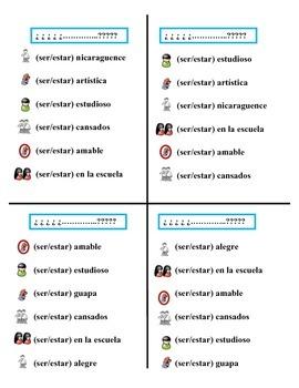 Communicative Spanish Activity (Speak, Listen, Write): Ser + Estar