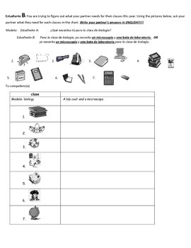 Spanish Partner Communicative activity: La escuela (Classes and class supplies)