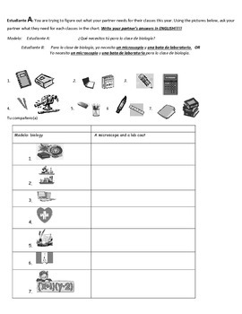 Spanish Partner Communicative activity: La escuela (Classe