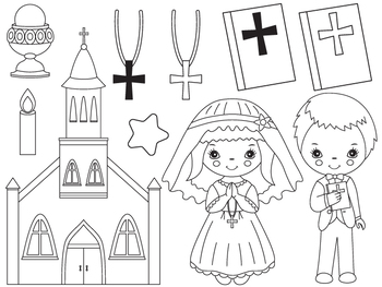 Communion Clipart - Digital Vector First Communion, Christian, Kids Clip Art