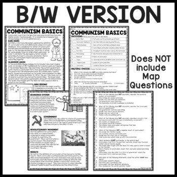 Cold War- Communism Basics Reading Comprehension Worksheet, DBQ
