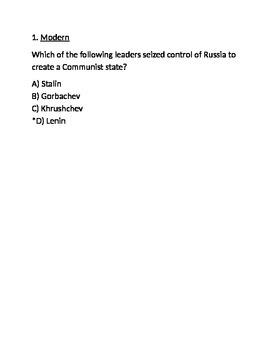 Communism Exam --A-- for Respondus (World Civilizations II)