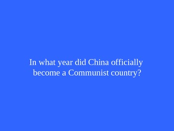 Communism and Asian Study Jeopardy Game (1 of 2 versions)
