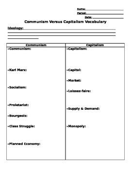 Communism Versus Capitalism Vocabulary WKST