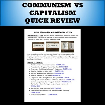 Communism vs Capitalism Quick Review game