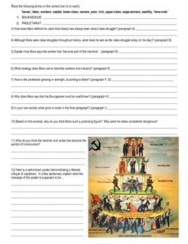 Communist Manifesto (Karl Marx) - primary source document with guiding questions
