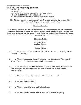 Communist Youth Documents - Primary Source and Discussion Questions