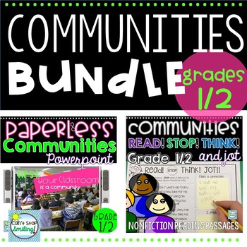 Communities 1st Grade 2nd Grade Bundle ~ All About and 3 Types of Communities