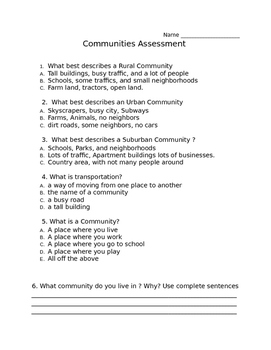 Communities Assessment/ Rural, Urban, Suburban