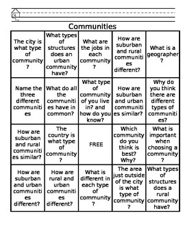 Communities - Choice Board / BINGO Board Content Questions