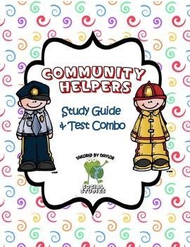 Communities & Community Helpers Study Guide and Test Combo