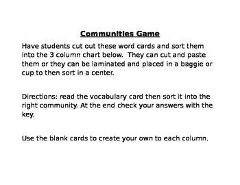 Communities Games