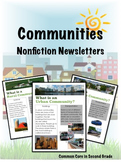 Communities Research Newsletters- Urban, Suburban, Rural- Social Studies
