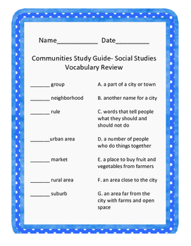 Communities Review/Study Guide
