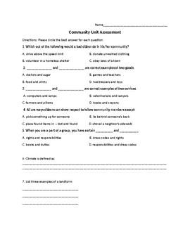 Communities - Unit Assessment 2nd/3rd