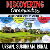 Communities Unit: Urban, Suburban, Rural with PowerPoint Slides