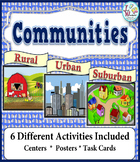 Communities Unit on Rural Urban Suburban with Digital Task