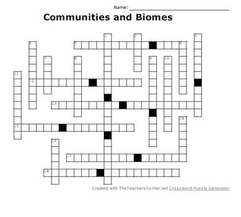 Communities and Biomes Crossword Puzzle