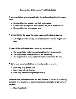 Communities and Government Study Guide & Test for 2nd or 3rd grade