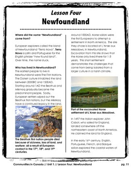 Communities in Canada // NEWFOUNDLAND // Canadian History // Social Studies